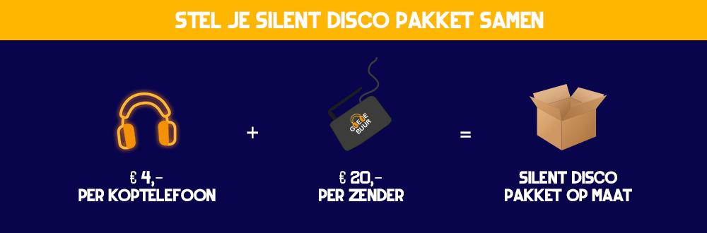 Je eigen pakket samenstellen om een Silent disco te huren